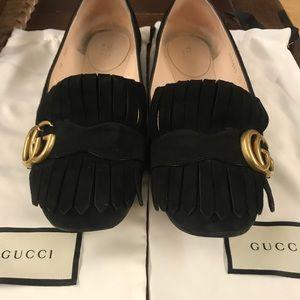 Gucci Marmont Kiltie Fringe Ballet Flat